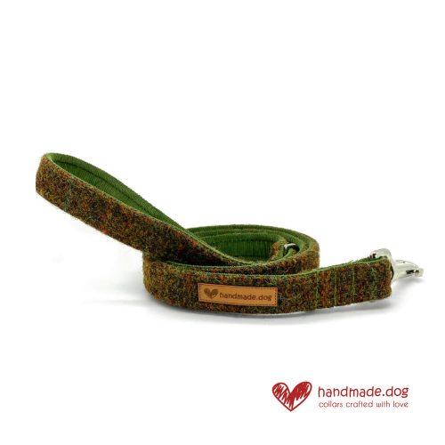 Handmade Moss green 'Harris Tweed' Dog Lead