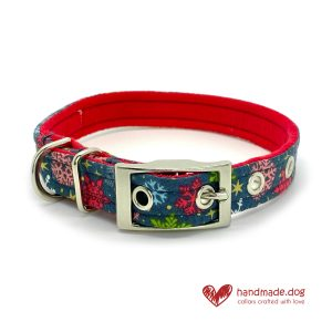 Handmade Christmas Frosty Nights Dog Collar