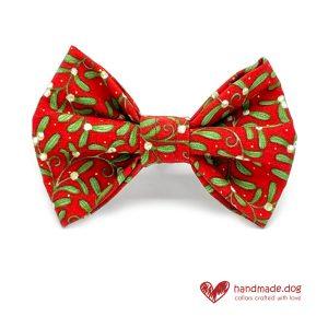 Handmade Christmas Merry Mistletoe Dog Dickie Bow