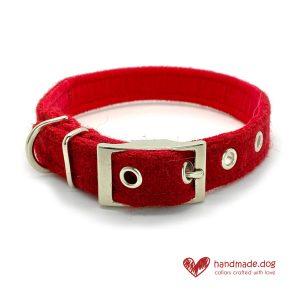 Handmade Christmas Limited Edition 'Harris Tweed' 'Red Berry' Dog Collar