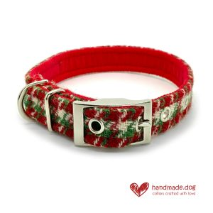 Handmade Christmas Limited Edition 'Harris Tweed' 'Christmas Cracker' Dog Collar