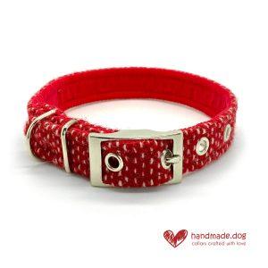 Handmade Christmas Limited Edition 'Harris Tweed' 'Snowfall' Dog Collar