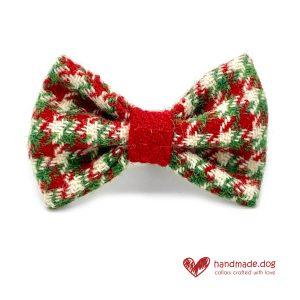 Handmade Christmas Limited Edition 'Harris Tweed' 'Christmas Cracker' Dog Dickie Bow