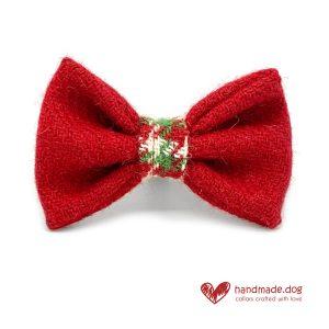 Handmade Christmas Limited Edition 'Harris Tweed' 'Red Christmas Cracker' Dog Dickie Bow