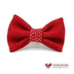 Handmade Christmas Limited Edition 'Harris Tweed' 'Red Snowfall' Dog Dickie Bow