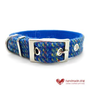Handmade 'Harris Tweed' Blue Rainbow Dog Collar.