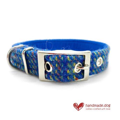 Handmade 'Harris Tweed' Blue Rainbow Dog Collar.