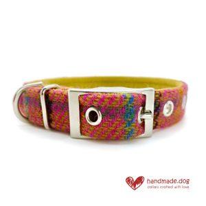 Handmade 'Harris Tweed' Tropical Check Dog Collar.