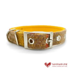 Handmade 'Harris Tweed' Yellow and Oatmeal Dog Collar.