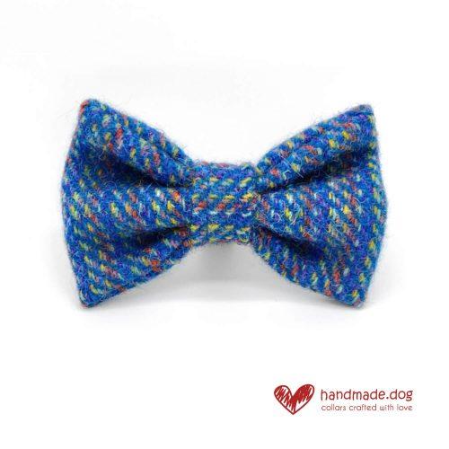 Handmade 'Harris Tweed' Blue Rainbow Dog Dickie Bow.