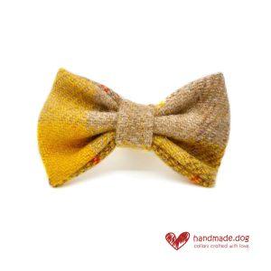 Handmade 'Harris Tweed' Yellow and Oatmeal Dog Dickie Bow.