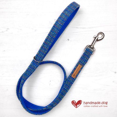 Handmade 'Harris Tweed' Blue Rainbow Dog Lead.