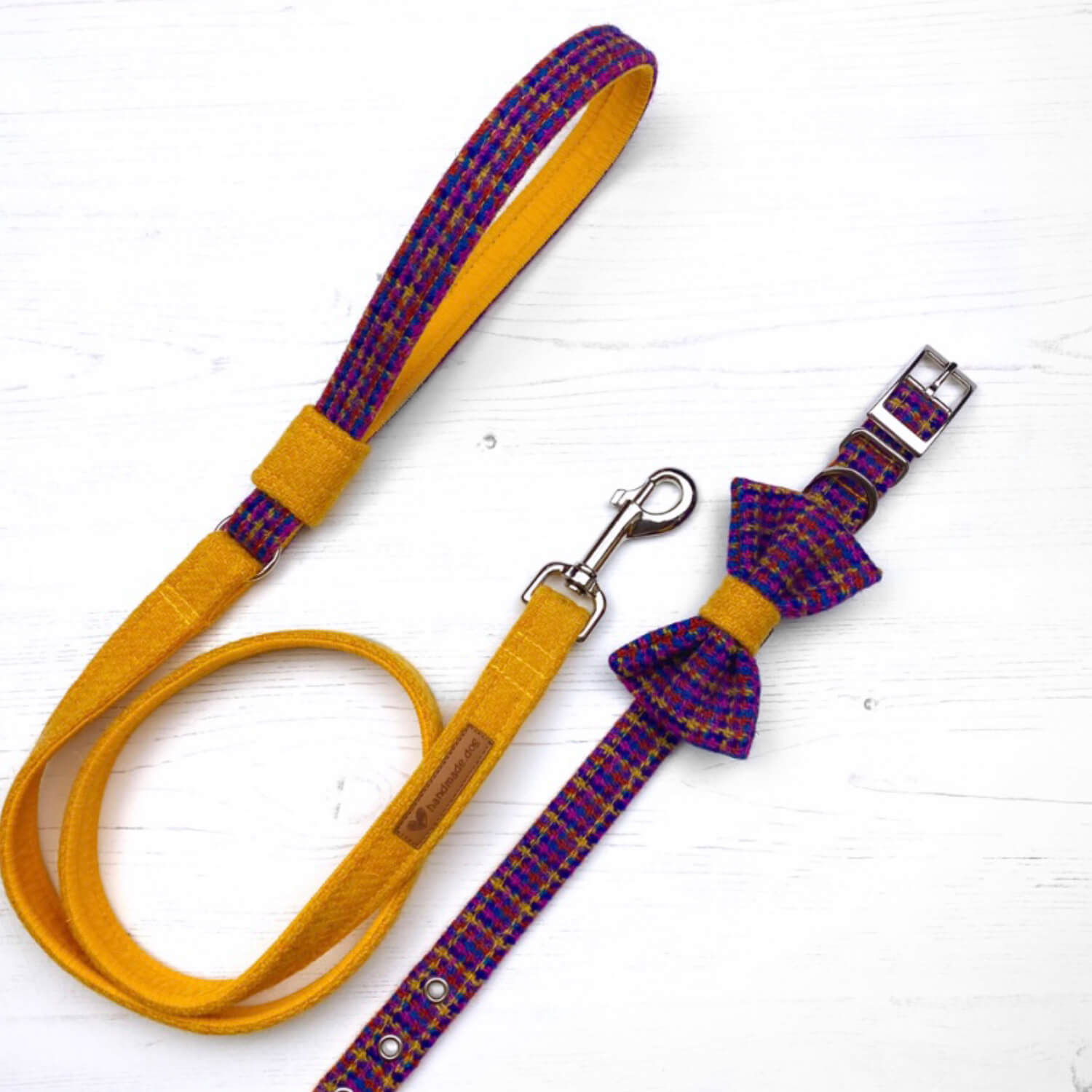 Handmade 'Harris Tweed' Limited Edition Istanbul Dog collar, lead and dickie bow set