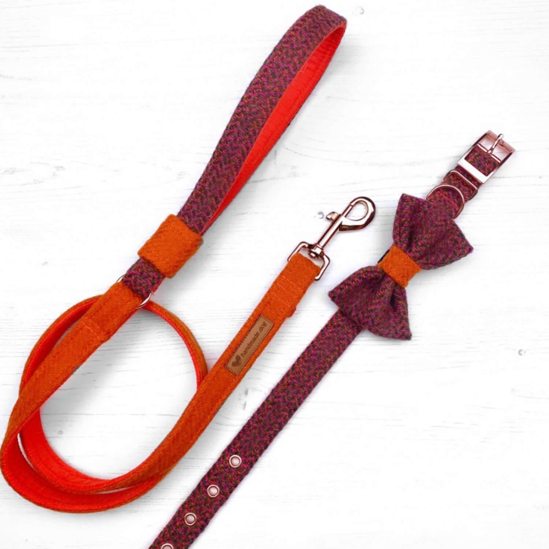 Handmade 'Harris Tweed' Limited Edition Jaipur Dog collar, lead and dickie bow set.