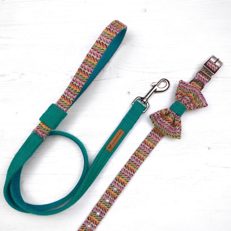Handmade 'Harris Tweed' Limited Edition San Francisco Dog collar, lead and dickie bow set.