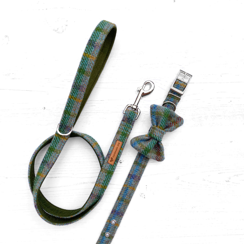 Handmade 'Harris Tweed' Autumn Check dog collar, lead and dickie bow.