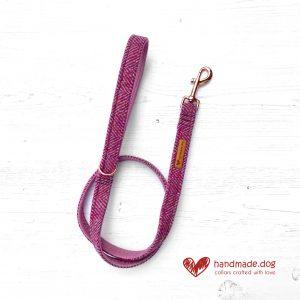 Handmade 'Harris Tweed' Mulberry Herringbone Dog Lead.