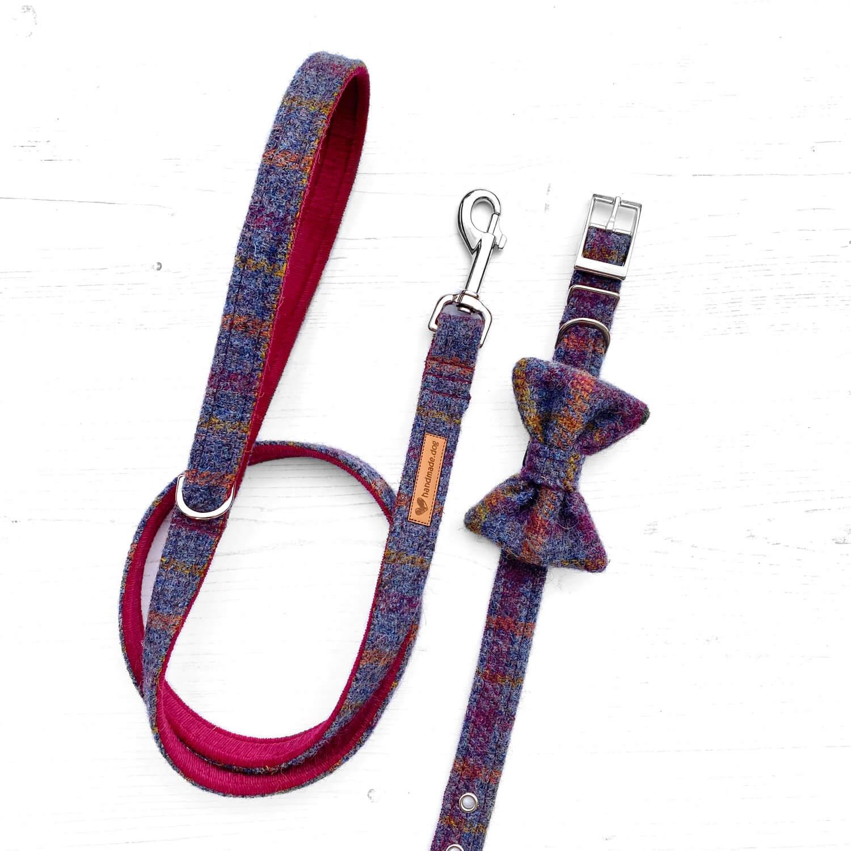 Handmade 'Harris Tweed' Indigo Check dog collar, lead and dickie bow.