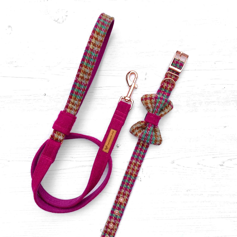 Handmade 'Harris Tweed' Moscow dog collar, lead and dickie bow.