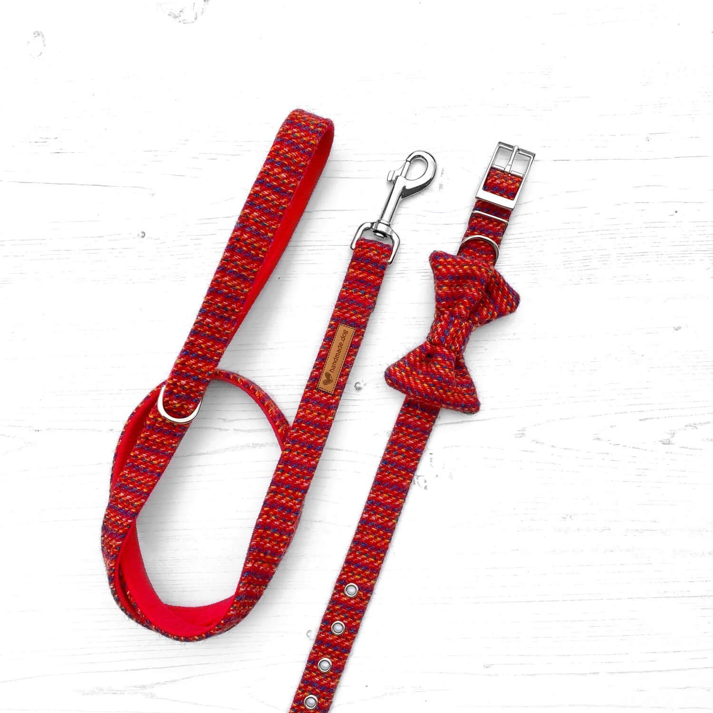 Handmade 'Harris Tweed' red Rainbow dog collar, lead and dickie bow.
